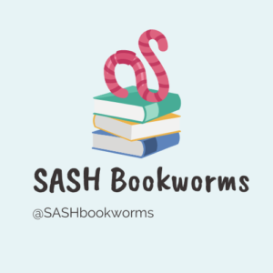 Logo for SASH Bookworms. Features an image of a worm sat upon a pile of books.